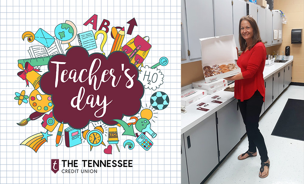 Christy Jackson receives doughnuts for Teacher Appreciation Day from Bellevue Branch