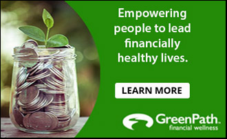 Get financially healthy - coins in a jar growing alongside little plant