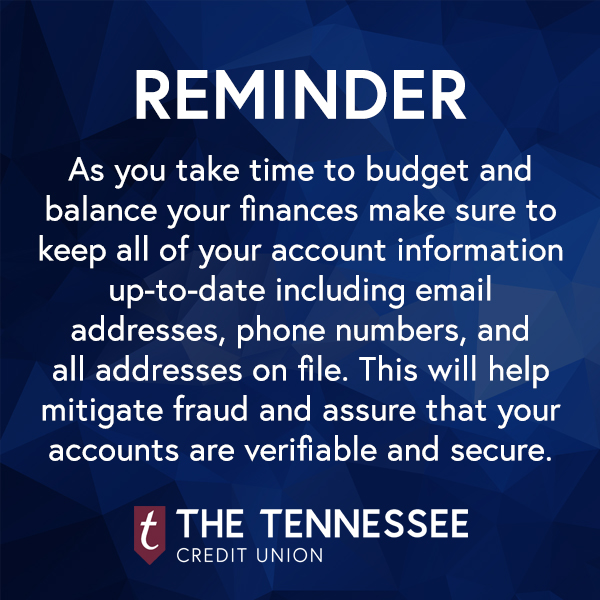 Reminder to keep your account information up-to-date